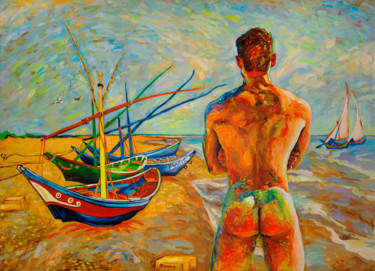 "Oleksandr Balbyshev ""Bather with Fishing Boats"""